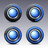Blue button with digital timer. Vector. Royalty Free Stock Photography