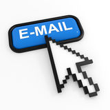 Blue button E-MAIL with arrow cursor. Royalty Free Stock Images