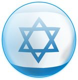 Blue Button Flag Israel Stock Photography