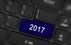 Blue button 2017. Laptop keyboard with a blue button 2017 Royalty Free Stock Photography