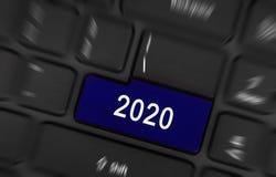 Blue button 2020 Stock Photos