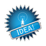 Blue button with the light bulb Royalty Free Stock Images