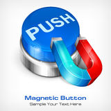 Blue button with magnet Stock Images