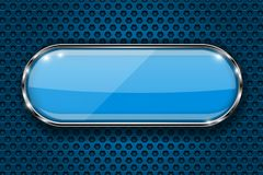 Blue button on perforated background. Oval glass 3d icon with metal frame royalty free illustration