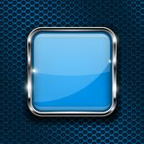 Blue button on perforated background. Square glass 3d icon with metal frame. Vector illustration royalty free illustration