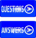 Blue button questions answers Royalty Free Stock Image