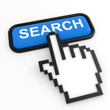 Blue button SEARCH with hand cursor. Stock Images