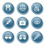 Blue button set 13 Stock Image