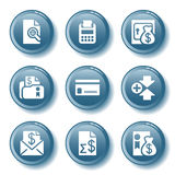 Blue button set 14. Vector icons set for internet, website, guides Royalty Free Stock Image