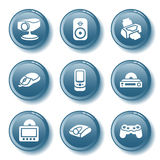 Blue button set 21 Stock Photography
