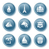 Blue button set 22. Vector icons set for internet, website, guides Stock Images