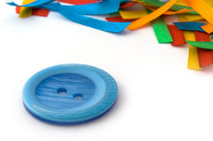 Blue button and strips Royalty Free Stock Images