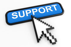 Blue button SUPPORT with arrow cursor. Stock Photo