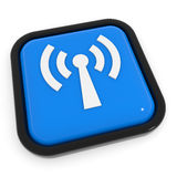 Blue button with WiFi antenna. Stock Photo