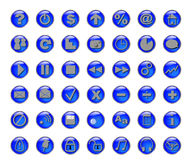 Blue buttons. With different icons and symbols Royalty Free Stock Photography