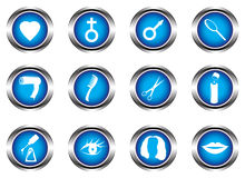 Blue buttons. Set of twelve blue buttons Stock Photo