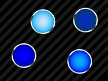 Blue buttons. A set of blue buttons on a black striped background Stock Photography