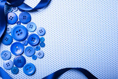 Blue buttons background. Various blue buttons over blue backround with copy space Stock Photo