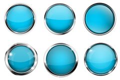Blue buttons with chrome frame. Round glass shiny 3d icons. Vector illustration isolated on white background Royalty Free Stock Photos
