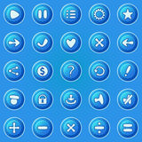 Blue buttons for game UI Royalty Free Stock Image