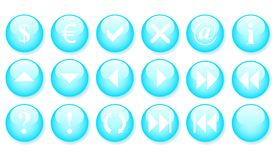 Blue buttons, icon set Stock Images