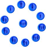 Blue buttons with man, woman, child and family figures Stock Images