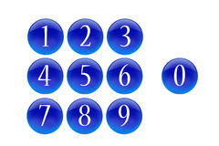 Blue buttons numbers. Isolated symbols Stock Photo