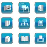 Blue buttons with pc blue icons Stock Image