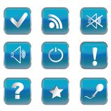 Blue buttons with pc icons Royalty Free Stock Image
