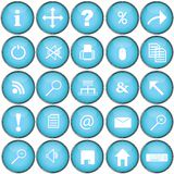 Blue buttons with pc symbols. Blue buttons with personal computer symbols Stock Photography