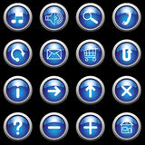 Blue buttons with white symbols. Royalty Free Stock Photography