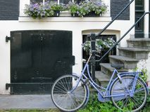 Blue bycicle and blue flowers. In front of a black and white building Stock Photos