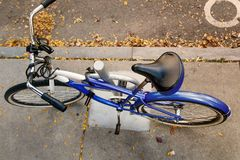 Top view of a chained bicycle Royalty Free Stock Photography