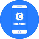 Blue ca acronym and euro sign design in a flat round button Stock Images