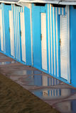 Blue cabins in a bathouse in Pesaro, Marche, Italy Stock Photography