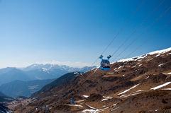 Blue cable car in the mountain Royalty Free Stock Photography