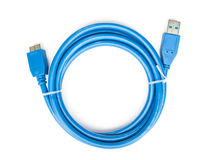 Blue cable usb to microusb 3 isolated Royalty Free Stock Images
