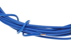 Blue cable used in electrical wiring systems Stock Photos