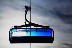 Blue cableway. Modern cableway in Tatranska Lomnica - High Tatras mountains, Slovakia stock photo