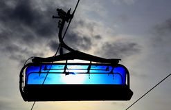 Blue cableway Royalty Free Stock Photography