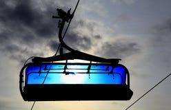 Blue cableway. Modern cableway in Tatranska Lomnica - High Tatras mountains, Slovakia royalty free stock photography