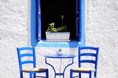 Blue cafe in Greece Royalty Free Stock Images