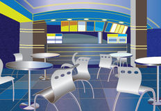 Blue cafe interior Stock Photography