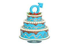 Blue cake with male gender sign, 3D rendering. Isolated on white background Royalty Free Stock Image