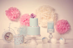 Blue cake with roses Stock Images