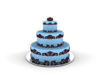 Blue cake on three floors with chocolate ornaments on it Stock Photos