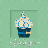 Blue cake with yellow bow on a green background Royalty Free Stock Images