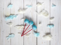 Blue cakepops among the candy-floss clouds Royalty Free Stock Images