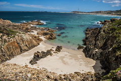 Blue Cala. Beautiful cala in the northwest of Galicia, Spain Stock Images