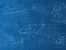 Blue calculation notes, formulas and sketches. Architectural blue calculation notes, formulas and sketches Stock Photos